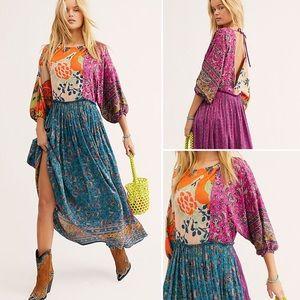 NWT Free People Multi-Pattern Boho Maxi Dress, XS